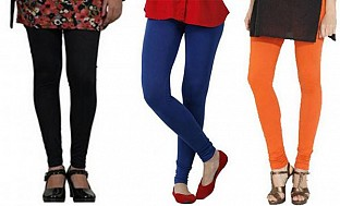 Cotton Black,Royal Blue and Orange Color Leggings Combo @ Rs617.00