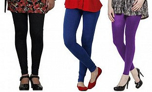 Cotton Black,Royal Blue and Purple Color Leggings Combo @ Rs617.00