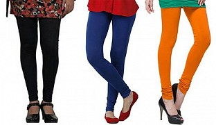 Cotton Black,Royal Blue and Dark Orange Color Leggings Combo@ Rs.617.00