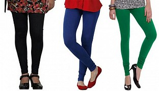 Cotton Black,Royal Blue and Dark Green Color Leggings Combo @ Rs617.00