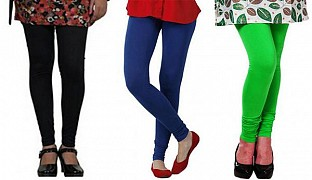 Cotton Black,Royal Blue and Light Green Color Leggings Combo@ Rs.617.00