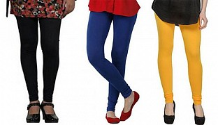 Cotton Black,Royal Blue and Yellow Color Leggings Combo @ Rs617.00