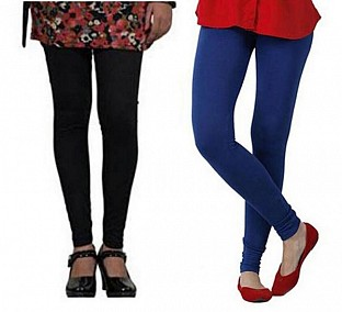 Cotton Black and Royal Blue Color Leggings Combo @ Rs407.00