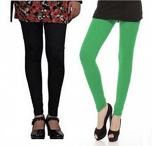 Cotton Black and Green Color Leggings Combo @ Rs407.00