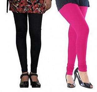 Cotton Black and Pink Color Leggings Combo@ Rs.407.00