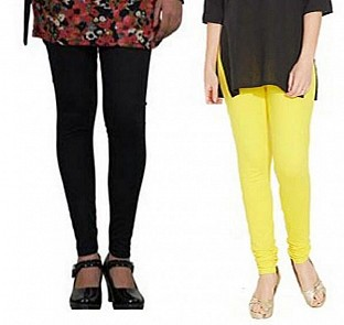 Cotton Black and Light Yellow Color Leggings Combo @ Rs407.00