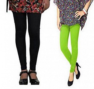 Cotton Black and Parrot green Color Leggings Combo @ Rs407.00