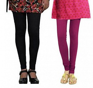 Cotton Black and Dark Pink Color Leggings Combo @ Rs407.00