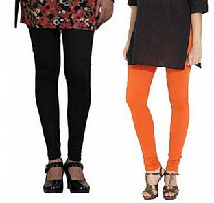 Cotton Black and Orange Color Leggings Combo @ Rs407.00