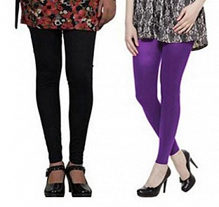 Cotton Black and Purple Color Leggings Combo@ Rs.407.00