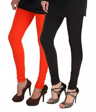 Cotton Black and Dark Orange Color Leggings Combo @ Rs407.00