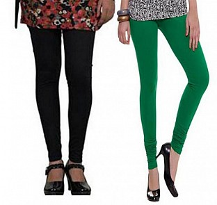Cotton Black and Dark Green Color Leggings Combo @ Rs407.00