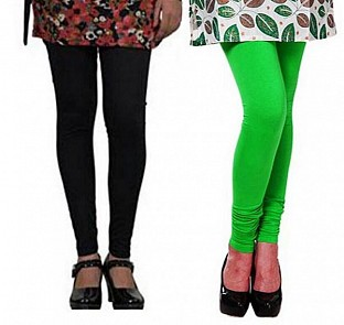 Cotton Black and Light Green Color Leggings Combo @ Rs407.00