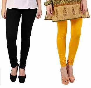 Cotton Black and Yellow Color Leggings Combo @ Rs407.00