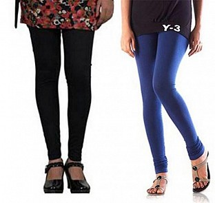 Cotton Black and Blue Color Leggings Combo @ Rs407.00