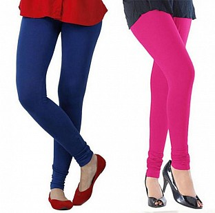 Cotton Royal Blue and Pink Color Leggings Combo @ Rs407.00