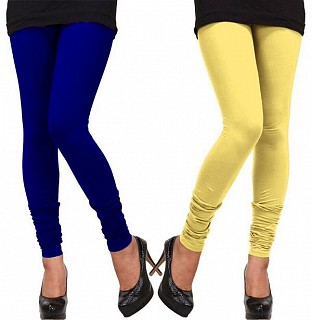 Cotton Royal Blue and Light Yellow Color Leggings Combo@ Rs.407.00