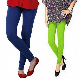 Cotton Royal Blue and Parrot Green Color Leggings Combo@ Rs.407.00