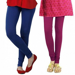 Cotton Royal Blue and Dark Pink Color Leggings Combo @ Rs407.00
