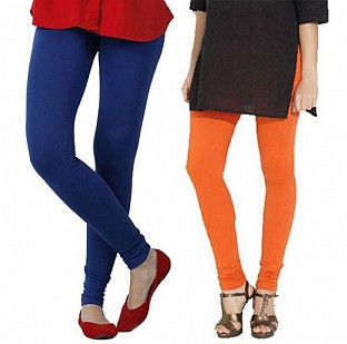 Cotton Royal Blue and Orange Color Leggings Combo @ Rs407.00