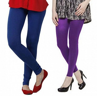 Cotton Royal Blue and Purple Color Leggings Combo @ Rs407.00