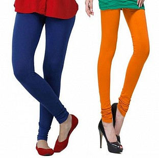 Cotton Royal Blue and Dark Orange Color Leggings Combo @ Rs407.00