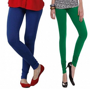 Cotton Royal Blue and Dark Green Color Leggings Combo @ Rs407.00