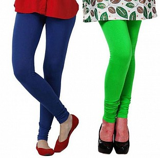 Cotton Royal Blue and Light Green Color Leggings Combo @ Rs407.00