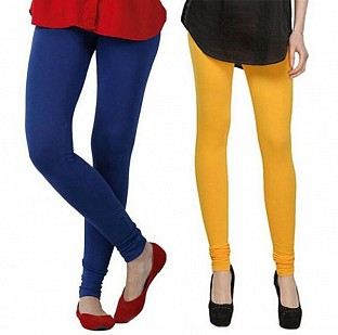 Cotton Royal Blue and Yellow Color Leggings Combo @ Rs407.00