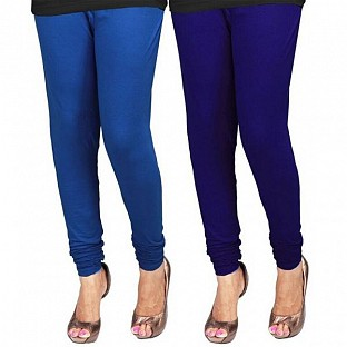 Cotton Royal Blue and Blue Color Leggings Combo @ Rs407.00