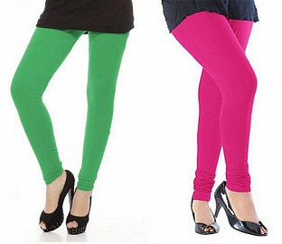 Cotton Green and Pink Color Leggings Combo @ Rs407.00