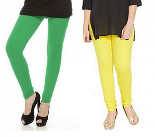 Cotton Green and Light Yellow Color Leggings Combo @ Rs407.00