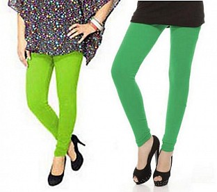 Cotton Green and Parrot Green Color Leggings Combo @ Rs407.00
