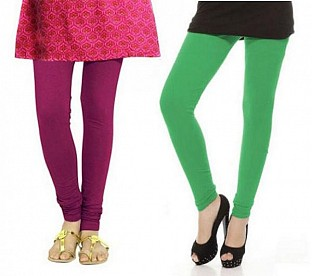 Cotton Green and Dark Pink Color Leggings Combo @ Rs407.00