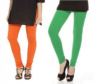 Cotton Green and Orange Color Leggings Combo @ Rs407.00