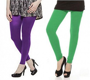 Cotton Green and Purple Color Leggings Combo@ Rs.407.00