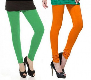 Cotton Green and Dark Orange Color Leggings Combo@ Rs.407.00