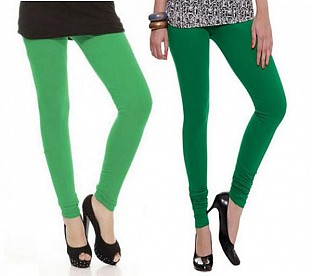 Cotton Green and Dark Green Color Leggings Combo @ Rs407.00