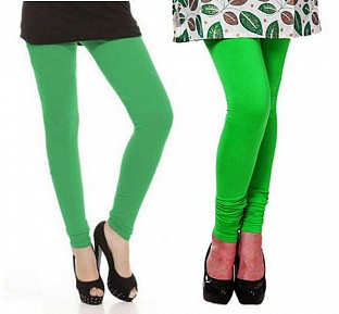 Cotton Green and Light Green Color Leggings Combo@ Rs.407.00