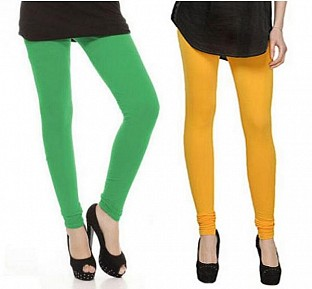 Cotton Green and Yellow Color Leggings Combo @ Rs407.00