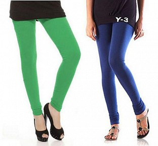 Cotton Green and Blue Color Leggings Combo @ Rs407.00