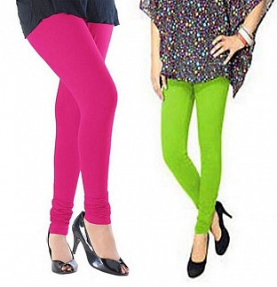 Cotton Pink and Parrot Green Color Leggings Combo @ Rs407.00