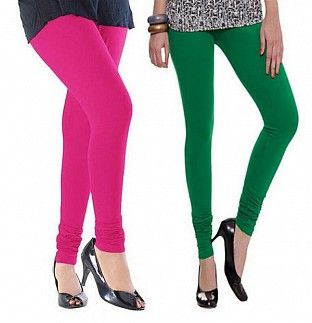 Cotton Pink and Dark Green Color Leggings Combo @ Rs407.00
