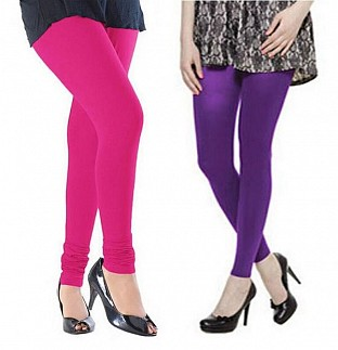 Cotton Pink and Purple Color Leggings Combo @ Rs407.00