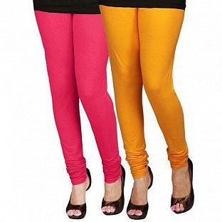 Cotton Pink and Yellow Color Leggings Combo @ Rs407.00