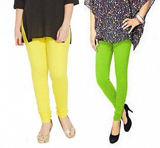 Cotton Light Yellow and Parrot Green Color Leggings Combo @ Rs407.00