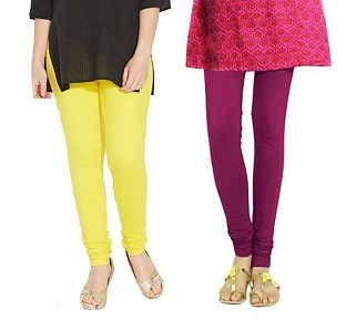 Cotton Light Yellow and Dark Pink Color Leggings Combo @ Rs407.00
