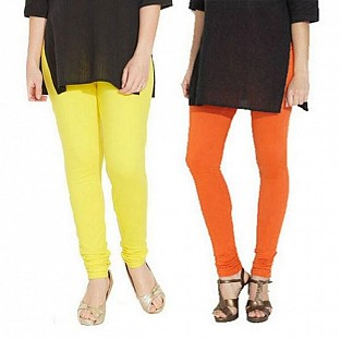 Cotton Light Yellow and Orange Color Leggings Combo @ Rs407.00