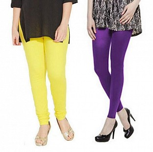 Cotton Light Yellow and Purple Color Leggings Combo @ Rs407.00