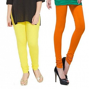 Cotton Light Yellow and Dark Orange Color Leggings Combo @ Rs407.00